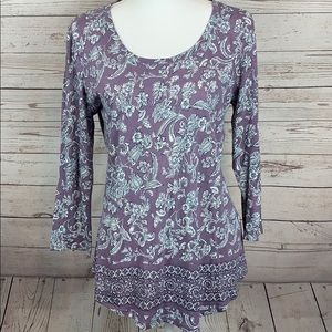 Lucky Brand Boho Floral Peasant Top Blouse NWOT